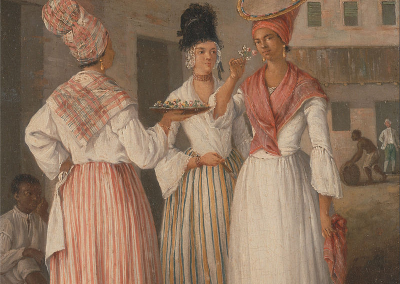 painting of three women of color with tignons