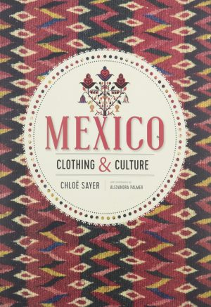 Book cover with image of Mexican textile with semi-abstract pattern in red, white, yellow, and blue