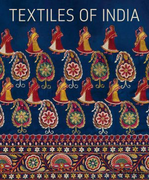 Book cover with a pattern of alternating lines of dressed women figures and paisley leaves in red, green, yellow, and white color on a dark blue ground