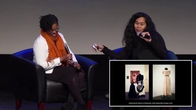 Image of Elizabeth Way and Joy L. Bivins having a conversation and two images of exhibition galleries on the bottom right corner