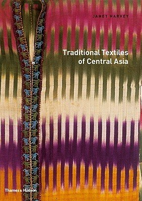 Book cover featuring a Central Asian textile with an abstract pattern of red, green, yellow, cream, and purple color