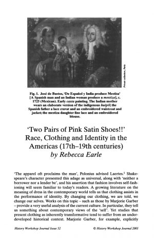 First page of article with a black-and-white reproduction of a casta painting representing an Indian woman, a Spanish man, and their mestiza offspring