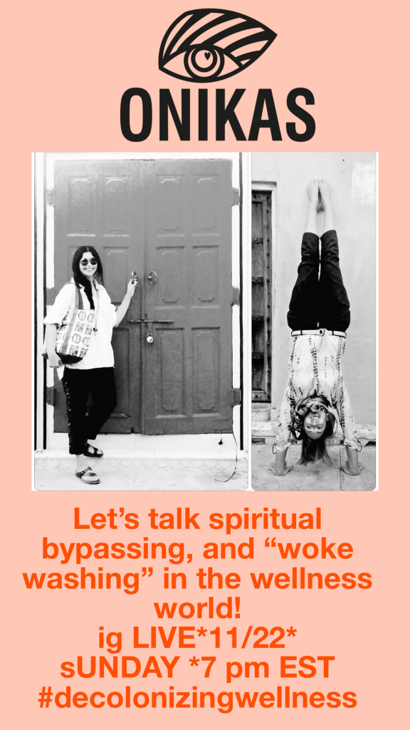 """Event banner with logo up top and two black and white photos of the host and guest speaker. Text underneath reads: Let's talk spiritual bypassing, and """"woke washing"""" in the wellness world!"""
