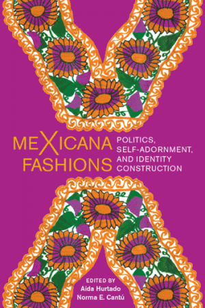 Book cover with title and two mirroring patterns with green and orange flowers and scrolls on a purple background