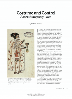 First page of article with an image of a Lord of Tezcoco wearing a cream cloak