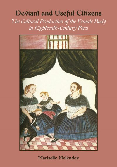 Book cover with image of three women wearing dark blue dresses with wide skirts, aprons, and shawls over their shoulders