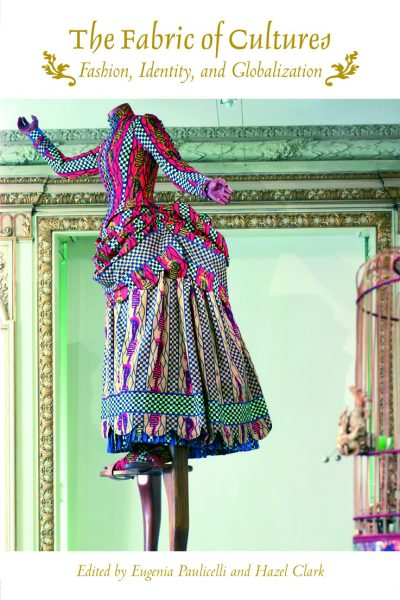 Book cover with an image of a mannequin dressed in a 19th-century dress made with a textile with colorful, abstract patterns