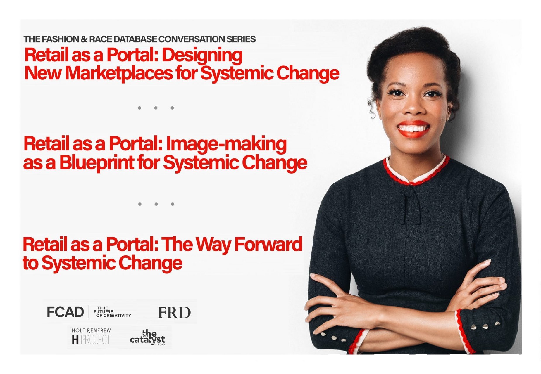 Event Banner - Retail as a Portal: gives the titles of three panels next to a photograph of Prof. Kimberly Jenkins