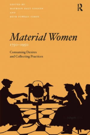 Book cover with title and silhouettes of women sitting around a table, one of them reading and the other two doing hand crafts