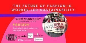 Poster for the event with a pink and red background and an image of garment workers marching