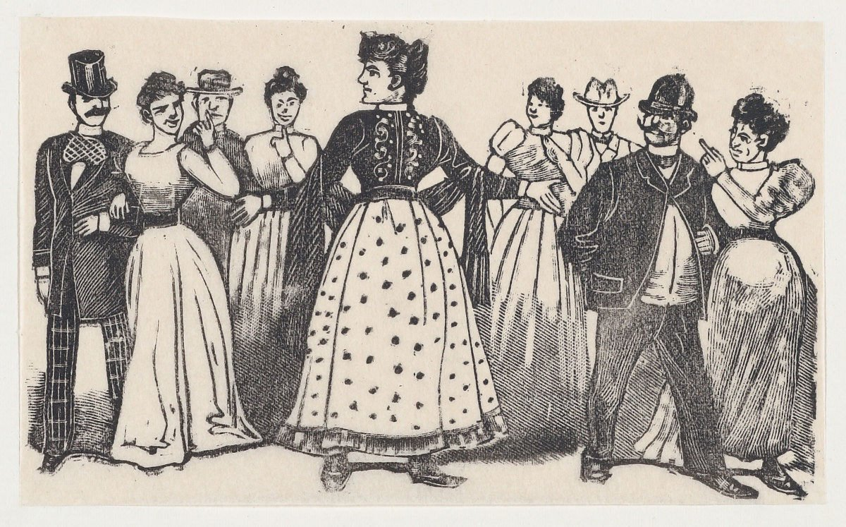 a historical etching showing a woman in a fashionable dress with her arms outstretched to a group of four couples looking at her