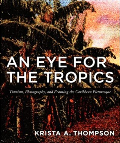 Book cover with image of palm trees in the background