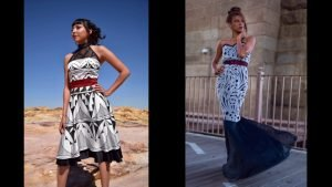 Two photographs of designs created by Aragon. On the left, a dress with geometric patterns in black and white and a red belt; on the right, a dress with blue patterns on a white ground.