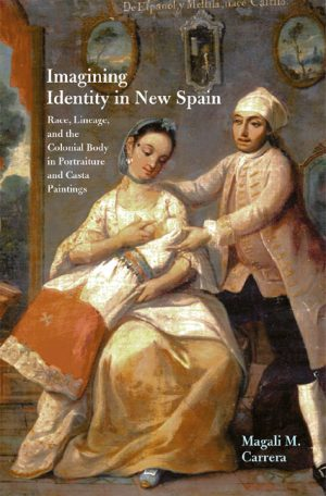 Book cover with casta painting of an interracial marriage and their child