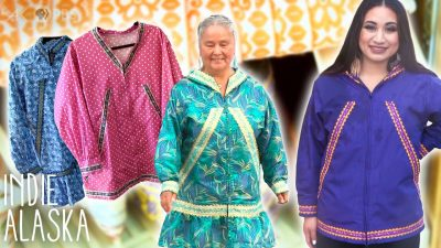 Collage with images of two women wearing kuspuks and parkys and two of these garments in the background