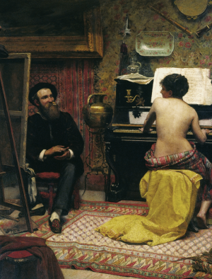 Painting of man painting in front of an easel and nude woman playing a piano next to him