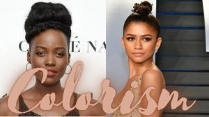 """Images of two women with different skin colors and the word """"Colorism"""" across them"""
