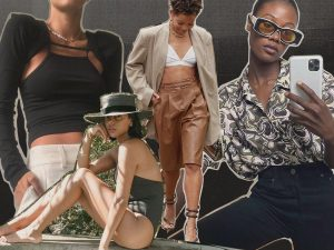 Collage of images of women wearing fashionable clothes
