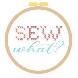 "Illustration of light brown, round embroidery hoop with the word ""SEW"" written in red, imitating cross-stitching and the word ""what?"" written in light blue script"
