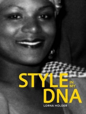 Book cover with black-and-white photograph of woman smiling and title in yellow font