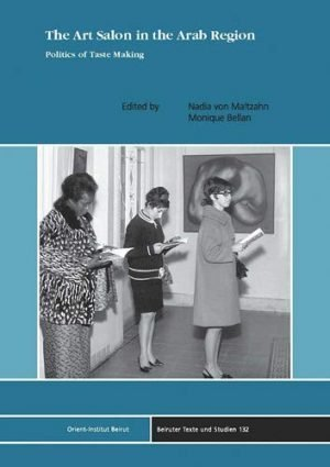 Book cover with black and white image of three women standing in an art salon