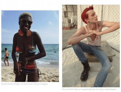 Photo of a black woman wearing a multi-colored, striped bikini at the beach on the left. On the right, photo of man with dyed vibrant-red hair, white tank top and blue jeans sitting on a low bench