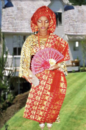 Yoruba woman dressed in traditional attire with Austrian lace