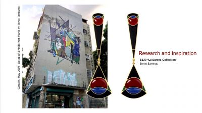 Collage with photo of grey building with semi-abstract painting on its wall and a pair of earrings with geometric figures