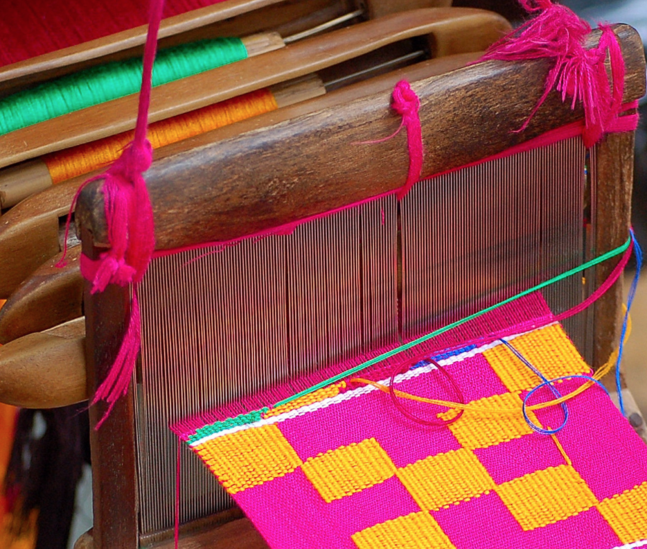 Close up of a weaving of traditional Kente Cloth