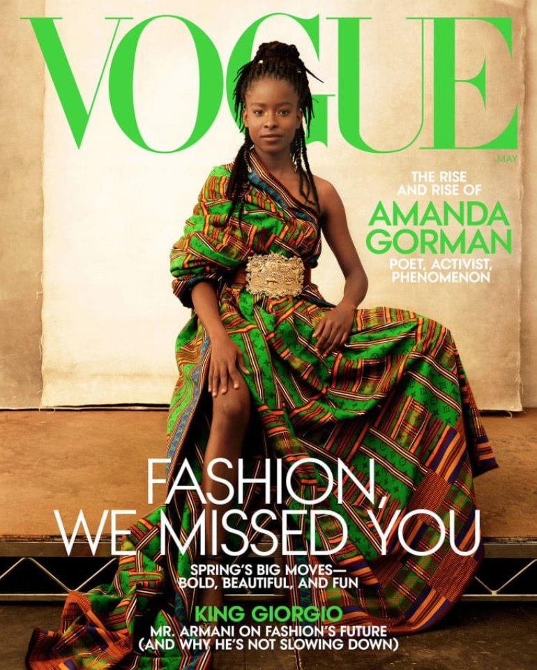 Image of poet laureate, Amanda Gorman, on the May 2021 cover of Vogue magazine.