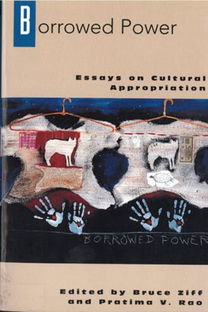 Book cover with image with hangers, skins with animal paintings, and hand prints