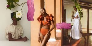 Collage of three images of black models, two of them wearing white dresses and the other one wearing an orange bikini with ruffles, with traces of paint and natural flowers