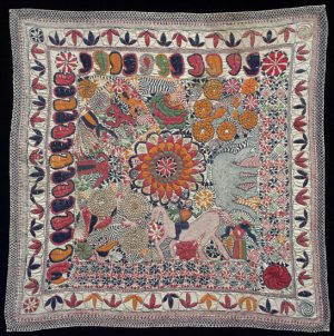 Kantha textile with Paisley motifs, flowers, and a horse