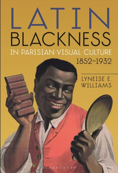 Book cover with image of Black man holding a bar of chocolate and a spoon (?) in his hands