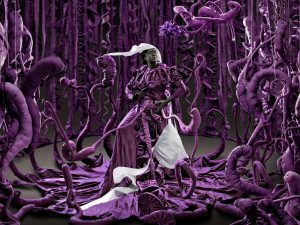 Image of a black woman wearing a purple dress and white headdress surrounded by purple trees with scrolling branches