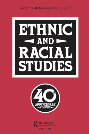 "Journal cover with the words ""Ethnic and Racial Studies"" in a black-and-white, rectangular cartouche in the center, and a roundel with the inscription ""40th Anniversary Volume"" below"