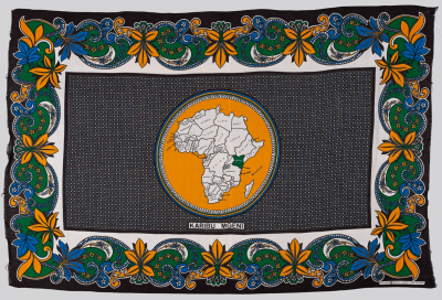 Textile hanging with borders with flowers and scrolls and a roundel with a map of Africa in the center