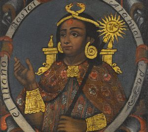 Portrait of Atahualpa, the fourteenth Inka, dressed in Andean textiles and wearing golden jewelry