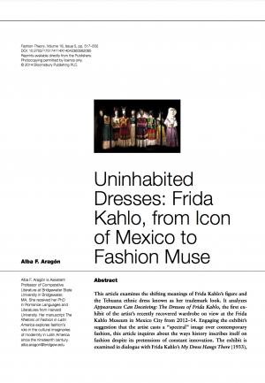 First page of article with title, abstract, author information, and an image of white mannequins dressed with Frida Kahlo's Tehuana-style outfits