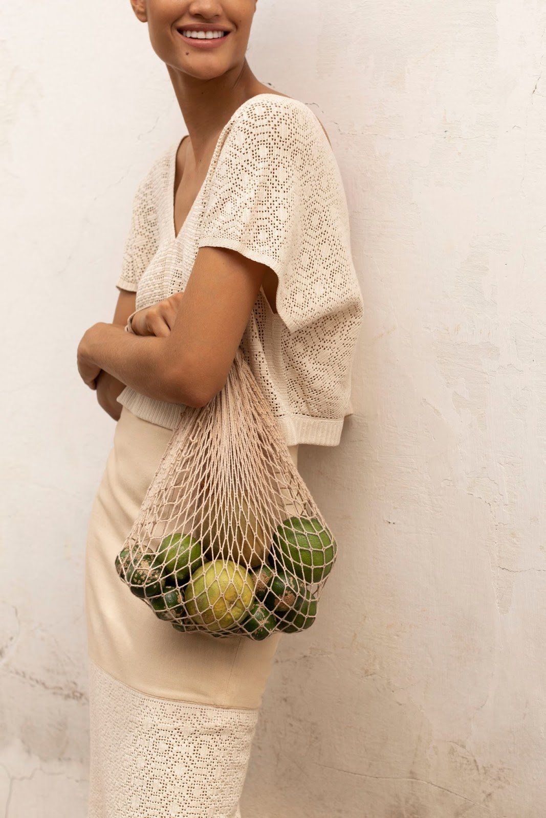 Priah Heritage designs with crocheted inserts, created by hand in the mountainous region of Boyacá, Colombia.