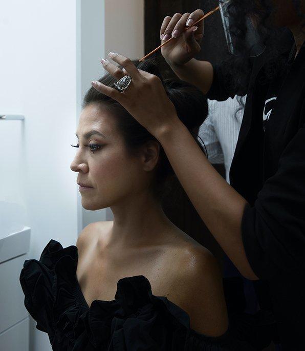 Amber-Dawn Bear Robe having her hair styled
