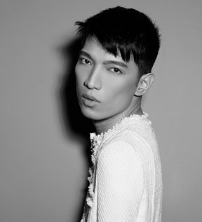 A black and white image of Bryanboy