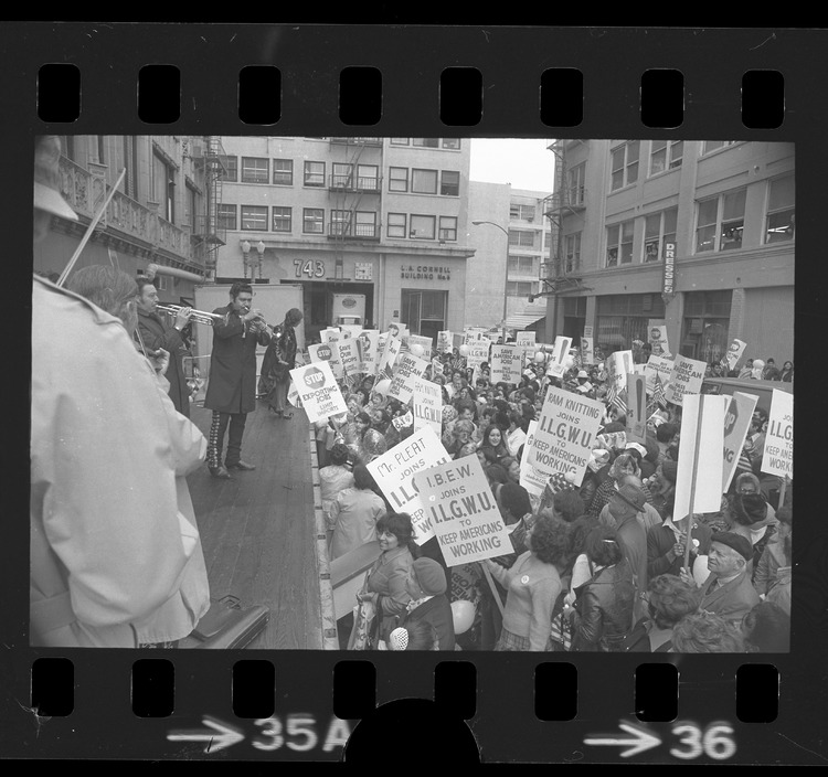 International Ladies' Garment Workers' Union rally protesting textile imports in Los Angeles, Calif., 1972.