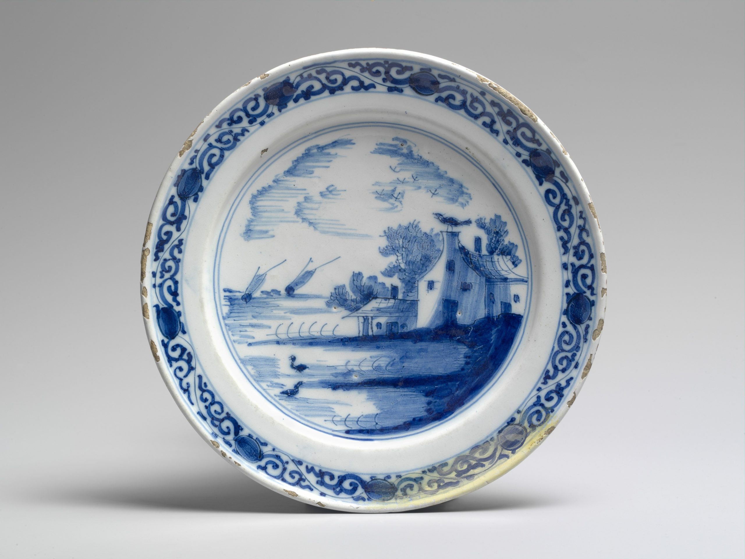 Image of a blue and white painted plate.