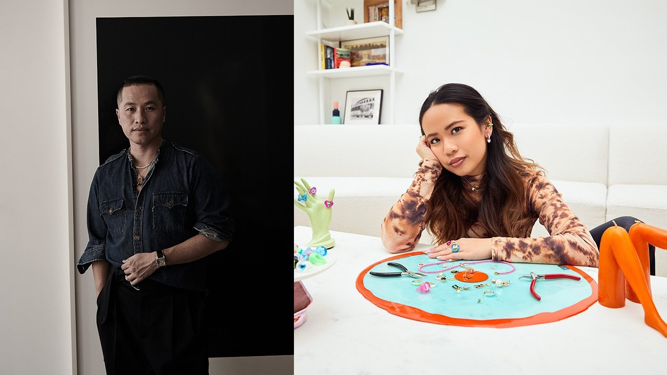 Collage image of Phillip Lim next to an image of Clare Ngai