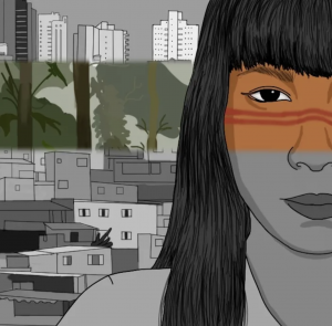 Illustration of Indigenous woman with the city in the background