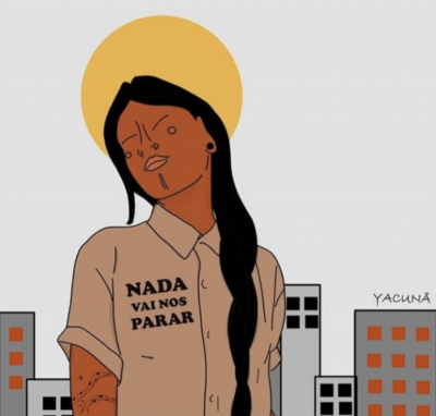 """Illustration of Indigenous woman wearing a shirt with the words """"Nada vai nos parar"""" (Nothing will stop us), with buildings on the background and the sun forming a halo around her head"""
