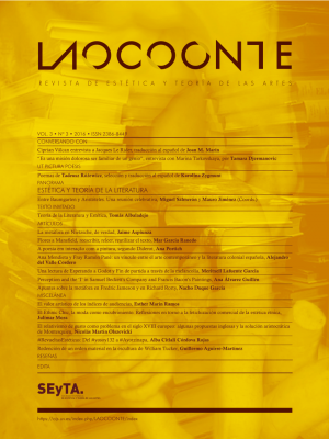 """Journal cover with the title """"Laocoonte"""" on top and the contents of the issue over a yellow background"""