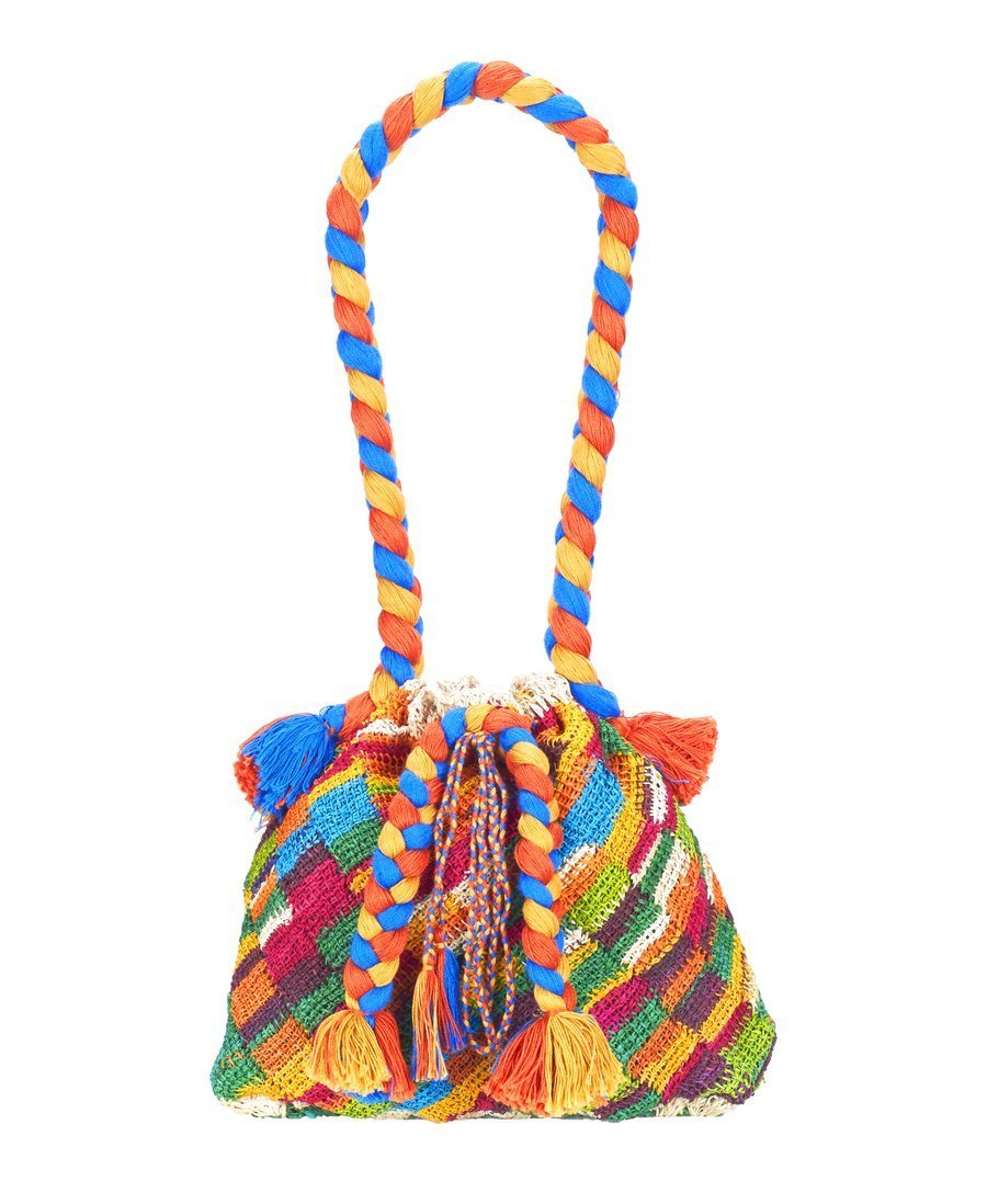 Photo of multi-colored bag with decorative braids and tassels