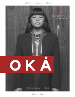 """Cover of the magazine """"Oká"""" with black-and-white image of Indigenous fashion model styled by Dayana Molina"""